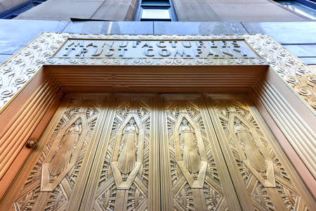 Bon Manufacturers Hanover Trust Company Bank Former Bronze Door Entrance In  Midtown Manhattan At The New Yorker