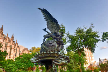 Peace Fountain located next to the Cathedral of Saint John the Divine in Morningside Heights in New York. Stock Photo