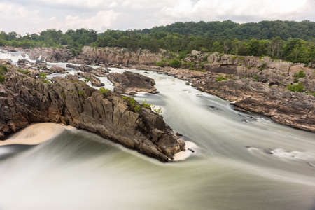 Great Falls Park in Virginia, United States. It is along the banks of the Potomac River in Northern Fairfax County. Stock Photo