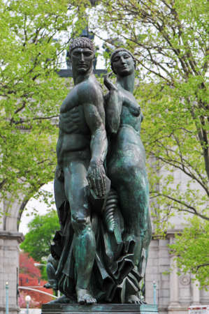 Bailey Fountain outdoor sculpture in New York City at the site of three 19th century fountains in Grand Army Plaza, Brooklyn, New York, United States. Redakční