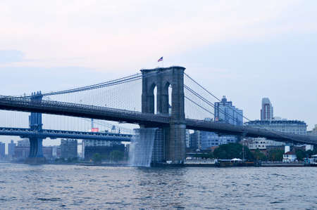 Man-Made Waterfalls under the Brooklyn Bridge