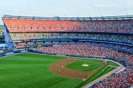 法拉盛,纽约- 2008年6月25日:大都会大联盟棒球比赛在谢伊体育场。