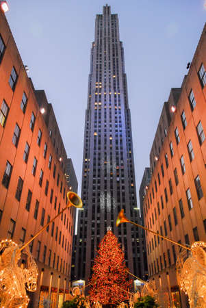 New York City - December 9, 2006: Rockefeller Center all decorated surrounding the newly lit Christmas tree. Editorial