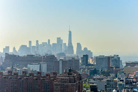 View of downtown Manhattan from the Hudson Yards in New York City Editorial