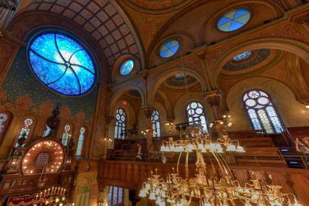 New York City - Oct 11, 2017: The Eldridge Street Synagogue, built in 1887, is a National Historic Landmark synagogue in Manhattans Chinatown neighborhood.