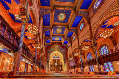 New York City - Oct 11, 2017: Central Synagogue in Midtown Manhattan, New York City. It was built in 1870-72 and was designed by Henry Fernbach in the Moorish Revival style.