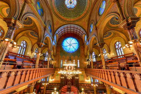 New York City - Oct 11, 2017: The Eldridge Street Synagogue, built in 1887, is a National Historic Landmark synagogue in Manhattan's Chinatown neighborhood.