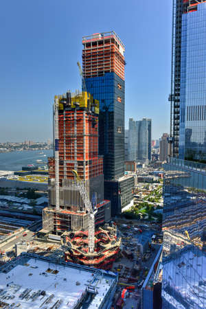 View of the construction and  development of Hudson Yards in Manhattan. The project is located on the West Side of the city and will feature residential, new offices and retail spaces. Stock Photo