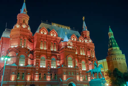 architecture monumental: Marshall Zhukov monument on Red Square in Moscow, Russia at night