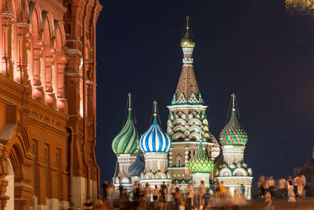 St Basils Church in Moscow Red Square on a summers night