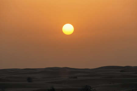 Sunset in Dubai, UAE on a desert safari.