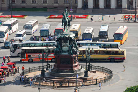 Saint Petersburg, Russia - August 11, 2007: The Monument to Nicholas I, a bronze equestrian monument of Nicholas I of Russia on St Isaacs Square in Saint Petersburg, Russia