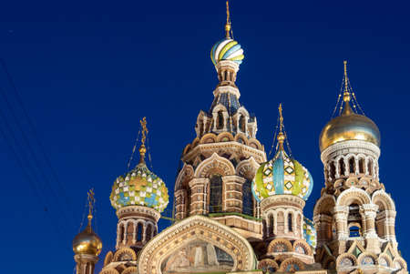 Church of the Savior on Spilled Blood in Saint Petersburg, Russia at night