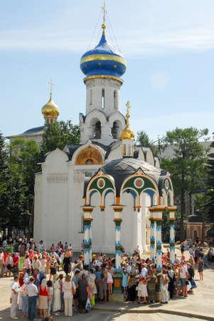 Sergiev, Posad - August 12, 2007: Worshippers in Sergiev Posad, Russia