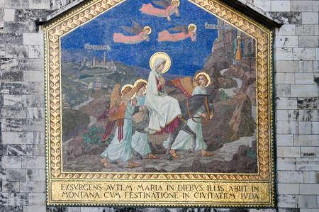 이스라엘의 예루살렘에있는 에인 카렘 (Ein Karem)의 구시 가지 방문 교회 스톡 콘텐츠