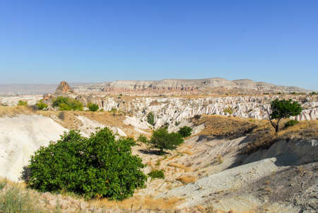 Panorama of the Meskendir Valley in Cappadocia, Turkey is a total length of 4400m and is situated near Ortahisar. Banco de Imagens - 91214597