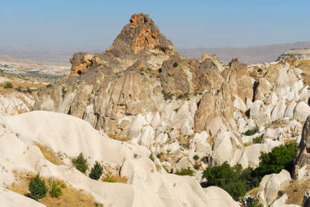 Panorama of the Meskendir Valley in Cappadocia, Turkey is a total length of 4400m and is situated near Ortahisar. Banco de Imagens - 91173384