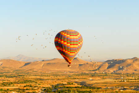 Hot air balloons over Cappadocia, Central Anatolia, Turkey Stock Photo