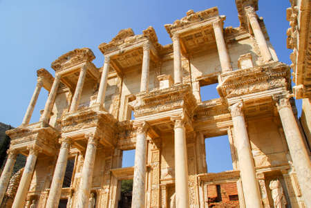 Library of Celsus in the ancient city of Ephesus, Turkey. Stock Photo