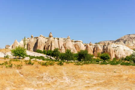 Panorama of the Meskendir Valley in Cappadocia, Turkey is a total length of 4400m and is situated near Ortahisar. Banco de Imagens - 91214737