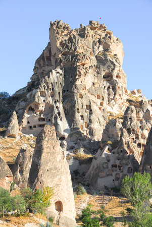 Uchisar castle or middle castle in  Cappadocia, Turkey.