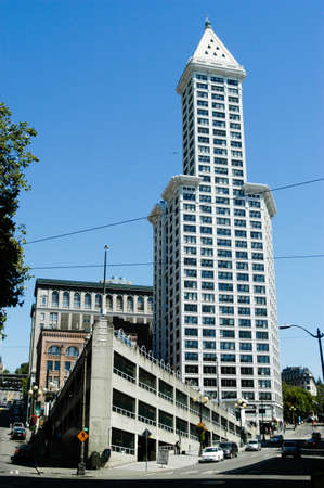 Smith Tower building in Seattle. The 38-story 149 m tall building was completed in 1914 and named after its builder, magnate Lyman Cornelius Smith. Editorial
