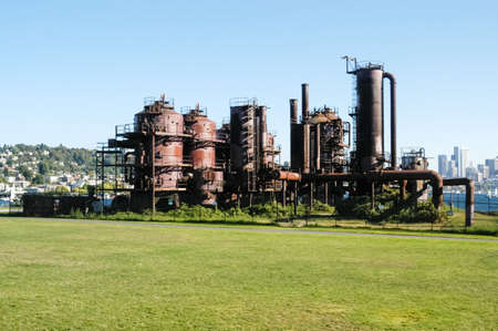 Gas Works Park in Seattle, Washington. It is a public park on the site of the former Seattle Gas Light Company gasification plant. Stock Photo