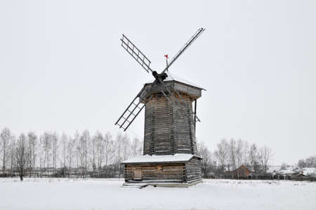 The Wooden windmill in the Museum of Wooden Architecture and Peasants Life on a Winter Day in Suzdal, Russia.