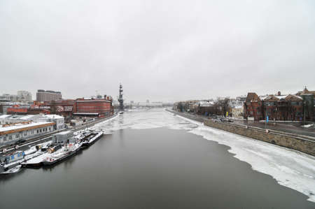 View across the Moscow River as it freezes over during the winter in Russia