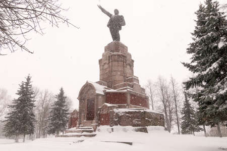 Lenin Monument in Kostroma, Russia in the winter along the Golden Circle.
