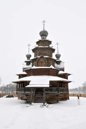 The Wooden Church of the Resurrection of Christ in the Museum of Wooden Architecture and Peasants Life on a Winter Day in Suzdal, Russia. Stock Photo