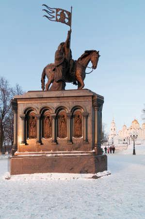 Sculpture du Baptiste de la Terre Prince Vladimir et Saint Fedor à Vladimir, Russie Banque d'images - 94896273