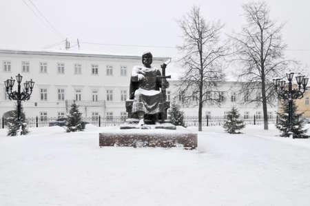 Yuri Dolgorukiy Monument in Kostroma, Russia in the winter.