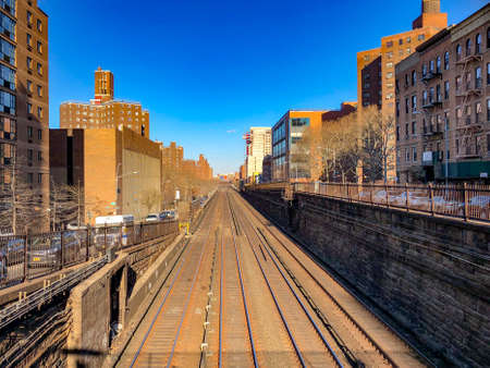 Metro-North Railway Line in Manhattan as they go from below to above ground at East 97th Street in New York City.