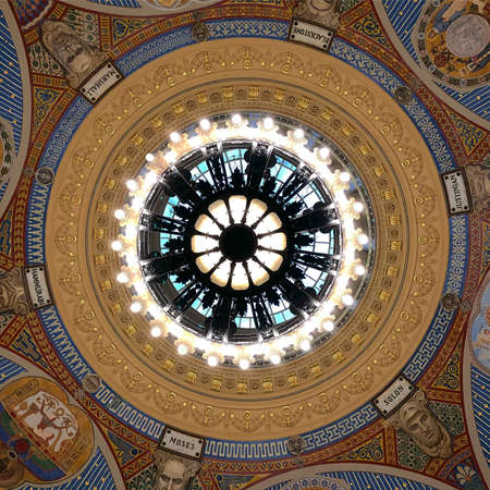 New York City - Dec 14, 2017: Dome of the Thurgood Marshall United States Courthouse Classical Revival courthouse in lower Manhattan in New York City.