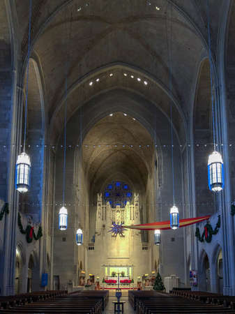 New York City - December 27, 2017: Interior of the Episcopal Church of Heavenly Rest at 5th Avenue and 90th street Upper East Manhattan New York, NY, USA