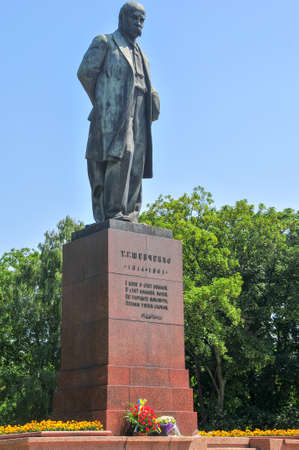Monument to Taras Shevchenko, the famous Ukrainian poet in Kiev, Ukraine.