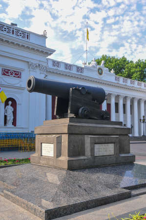 Cast-iron cannon cannon of the British frigate Tiger. Established as a monument in 1854 (officially, as a monument, in 1904) on the Dumskaya Square in Olessa, Ukraine. 報道画像