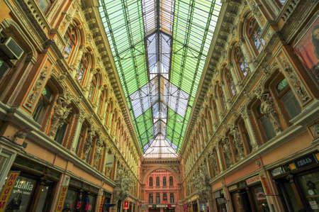 Odessa, Ukraine - June 29, 2009: Indoor atrium of Odessa Passage - old covered mall and architectural monument. 報道画像