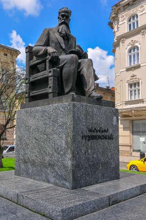 Monument to Ukrainian politician and historian Mykhailo Hrushevsky in Lviv, Ukraine. Mykhailo Hrushevsky was elected head of the revolutionary parliament.