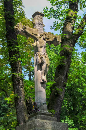 Monument in Lychakiv Cemetery  a famous and historic cemetery in Lviv, Ukraine.