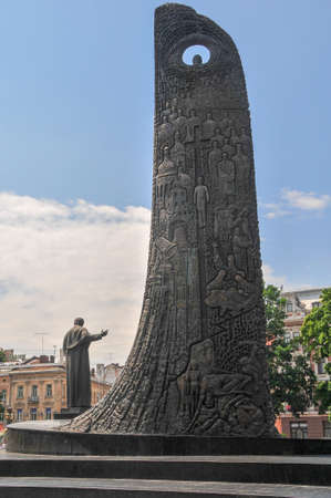 Monument of Taras Shevchenko and the Wave of National Revival. The monument was unveiled on the Prospekt of Freedom on August 24, 1992. The Wave was made in 1996.
