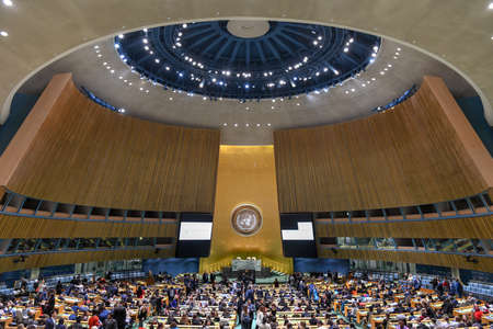 New York City - February 14, 2018: United Nations General Assembly Hall in Manhattan, New York City. The General Assembly Hall is the largest room in the UN with seating capacity over 1,800 people. Editorial