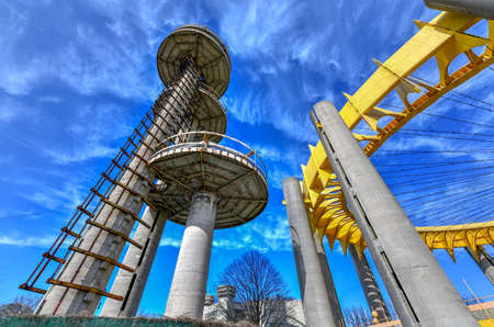 Flushing, New York - Apr 21, 2018: The Observation Towers of the New York State Pavilion, the historic world's fair pavilion at Flushing Meadows-Corona Park in Flushing, Queens, New York. Redakční