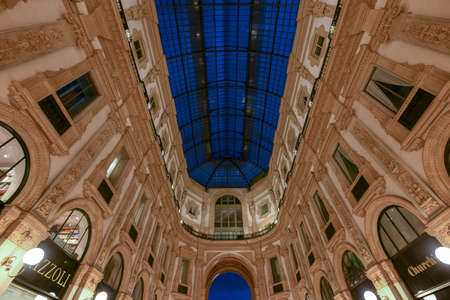 Milan Vittorio Emanuele II Gallery in Milan, Italy. It is Italy's oldest active shopping mall and a major landmark of Milan, Italy.