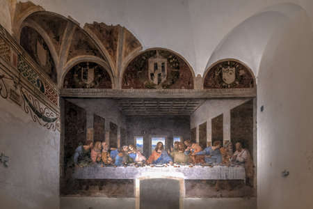 Milan, Italy - March 18, 2018: The Last Supper by Leonardo Da Vinci at Santa Maria delle Grazie church.