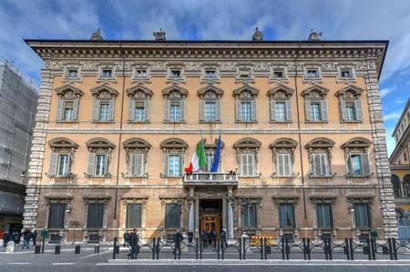 Rome, Italy - Mar 23, 2018: Beautiful fascade of Madama Palace (Palazzo madama). Palazzo Madama in Rome is the seat of the Senate of the Italian Republic. Italy.