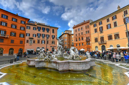 Rome, Italy - March 23, 2018: Fontana of Neptune in Piazza Navona in Rome, Italy.