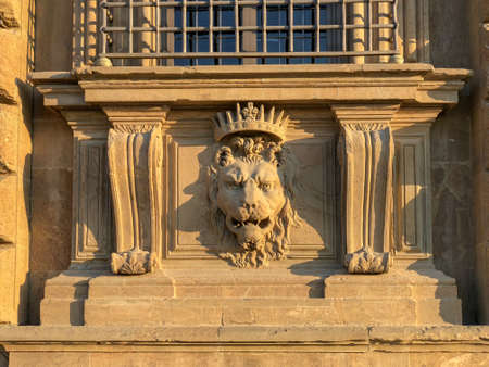 Close up lion stucco at Palazzo Pitti, the old palace of Medici family in Florence, Italy. Stockfoto