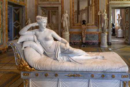 Rome, Italy - March 25, 2018: Marble statues in Villa Borghese in Rome, Italy. Editorial